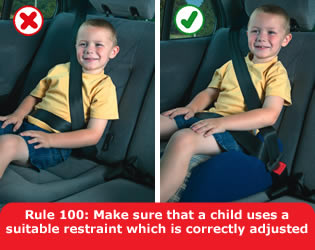 Highway Code - Rule 100 Make Sure That A Child Uses A Suitable Restraint