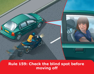 Highway Code - Rule 159 Check The Blind Spot Before Moving Off