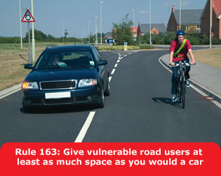 Highway Code - Rule 163 Give Vulnerable Road Users At Least As Much Space As You Would A Car