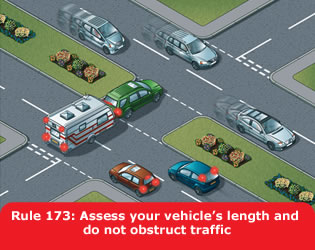 Highway Code - Rule 173 Assess Your Vehicles Length And Do Not Obstruct Traffic