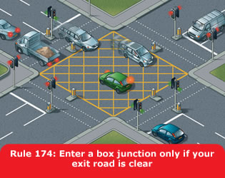 Highway Code - Rule 174 Enter A Box Junction Only If Your Exit Road Is Clear
