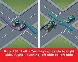 Highway Code - Rule 181 Left Turning Right Side To Right Side Right Turning Left Side To Left Side