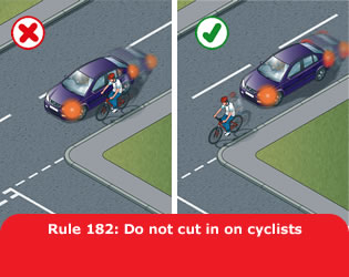 Highway Code - Rule 182 Do Not Cut In On Cyclists