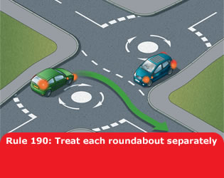 Highway Code - Rule 190 Treat Each Roundabout Separately