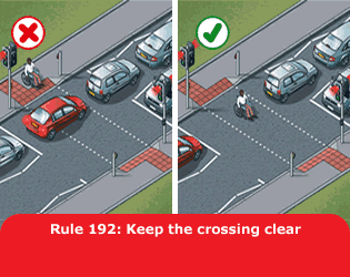 Highway Code - Rule 192 Keep The Crossing Clear