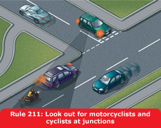 Highway Code - Rule 211 Look Out For Motorcyclists And Cyclists At Junctions