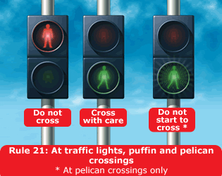 Highway Code - Rule 21 At Traffic Lights Puffin And Pelican Crossings