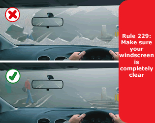 Highway Code - Rule 229 Make Sure Your Windscreen Is Completely Clear