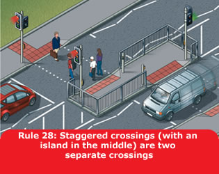 Highway Code - Rule 28 Staggered Crossings With An Island In The Middle