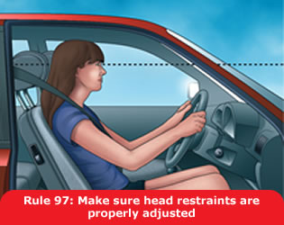 Highway Code - Rule 97 Make Sure Head Restraints Are Properly Adjusted